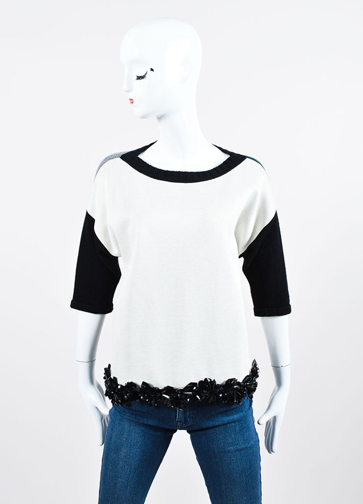 Green, Cream, and Black Marni Cashmere Boat Neck Beaded Sweater Frontview