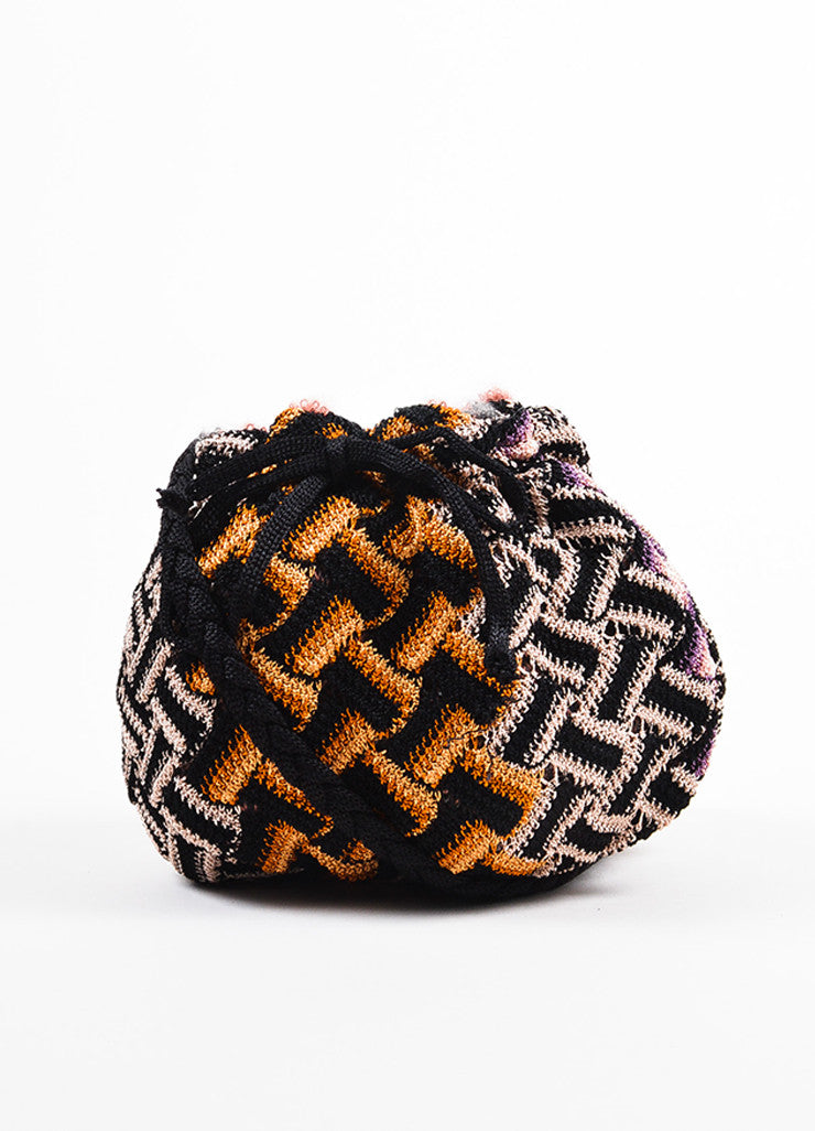 Missoni Black, Tan, and Orange Crochet Knit Braid Strap Mini Bucket Pouch Bag Frontview