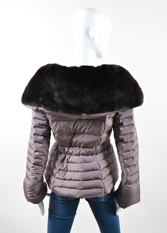 Moncler Mauve Nylon and Dark Brown Rabbit Fur Belted Puffer Winter Coat Backview