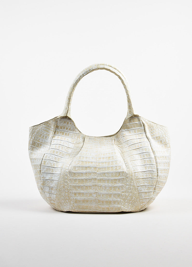 Cream Nancy Gonzalez Crocodile Leather Pleated Top Handle Tote Bag Front