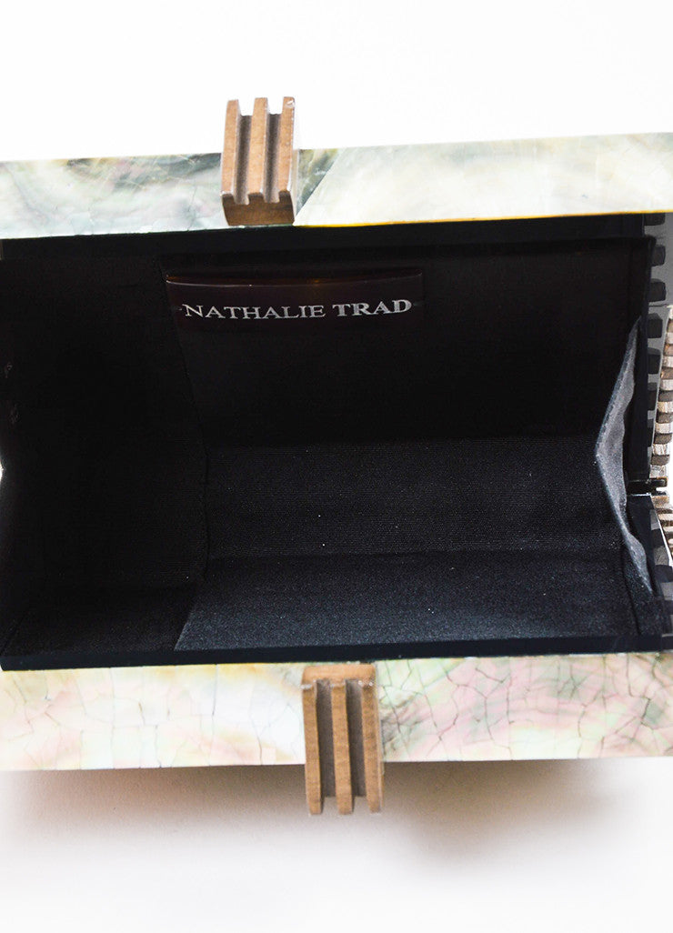 Nathalie Trad Green and Brown Opalescent Shell Resin Wood Box Clutch Bag Interior