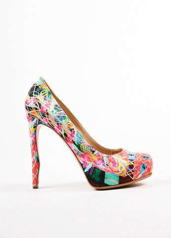 Multicolor Nicholas Kirkwood Neon Printed Satin Platform Pumps Sideview