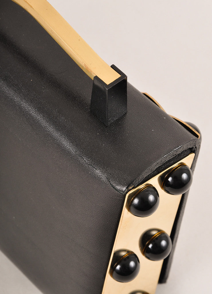 "Nuit Nº12 Black, Cream, and Gold Toned Leather Enamel ""Holy Lions"" Top Handle Clutch Bag Detail 2"