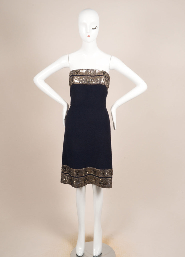 Oscar de la Renta Navy and Silver Wool Boucle Jewel Beaded Strapless Dress Frontview