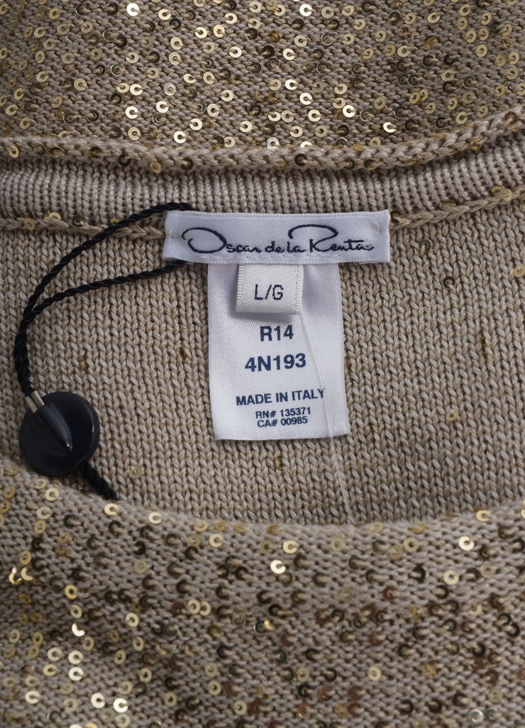 Oscar de la Renta New With Tags Beige and Gold Sequin Embellished Long Sleeve Knit Sweater Brand
