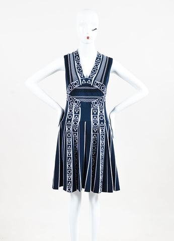 "Peter Pilotto Navy and White Pleat Stretch Knit ""Index"" Printed Dress Frontview"