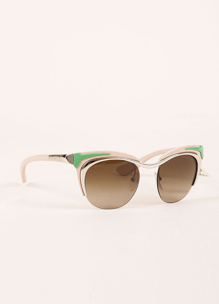 "Prada Pink, Green, and Silver Toned Retro Style ""SPR61O"" Clubmaster Sunglasses Sideview"