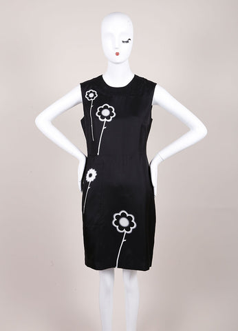 Prada Black and White Silk Spray Paint Flower Print Sleeveless Sheath Dress Frontview
