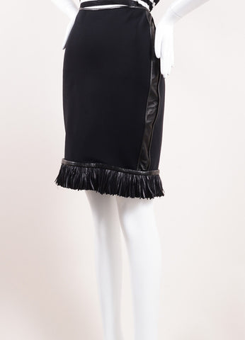 Reed Krakoff Black Neoprene Leather Fringe Feather Pencil Skirt Sideview