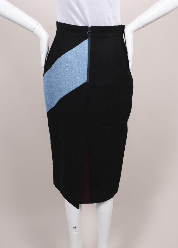 "Roksanda Ilincic New Black, Blue, and Red Color Block Wool ""Alba"" Skirt Backview"