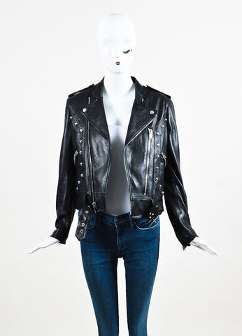 Saint Laurent Black Lamb Leather Studded Belted Moto Jacket Frontview
