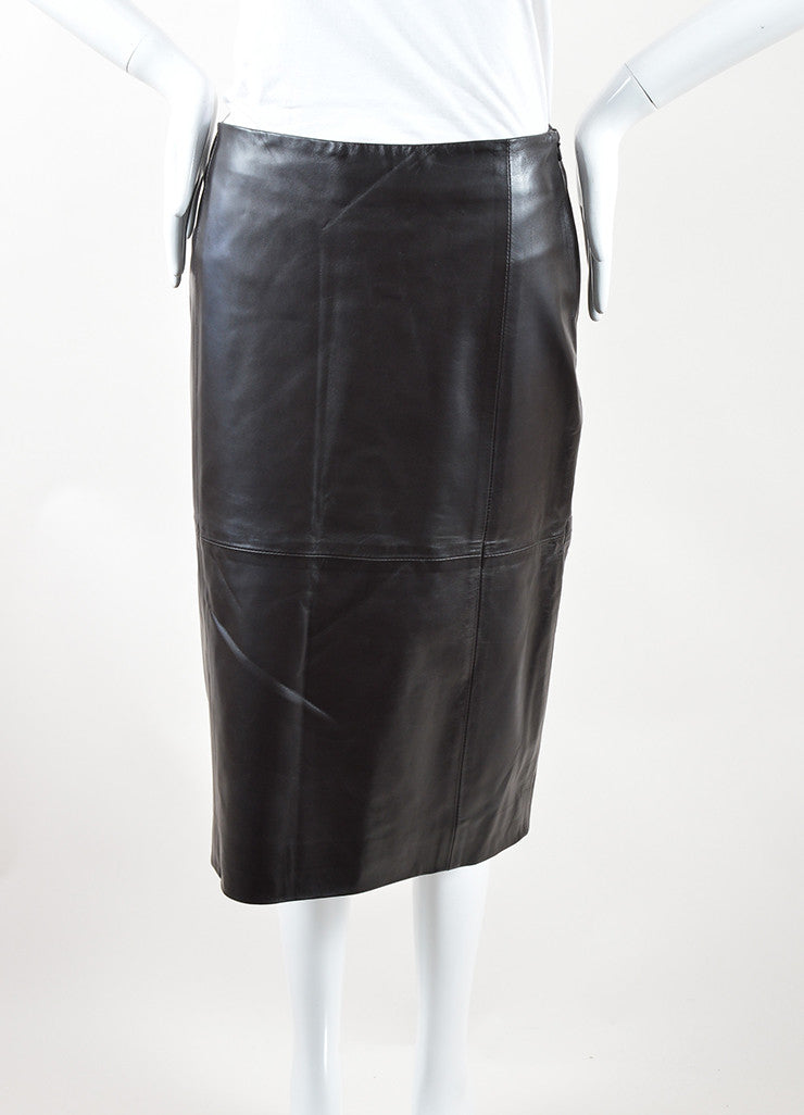 "The Row Dark Brown Leather Back Slit ""Jenta"" Straight Skirt Frontview"