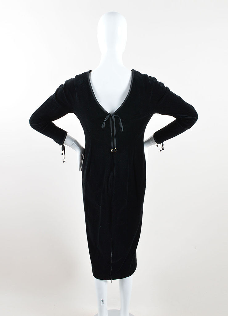 Chanel Black Velvet Ribbon Tie Long Sleeve Sheath Dress Backview