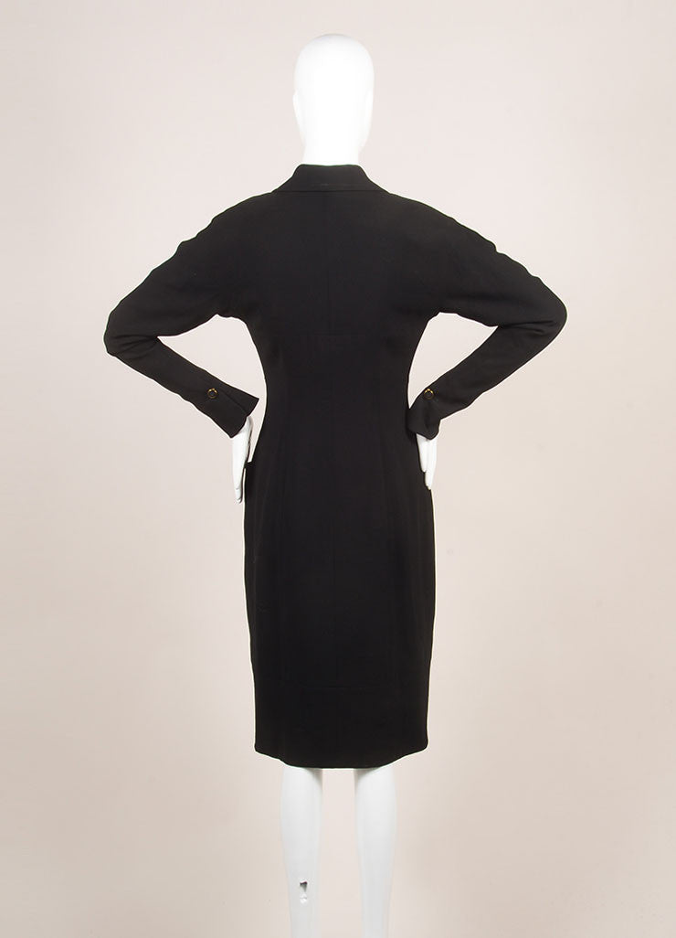 Vintage Karl Lagerfeld Black Wool Paneled Button Up Long Sleeve Dress Backview