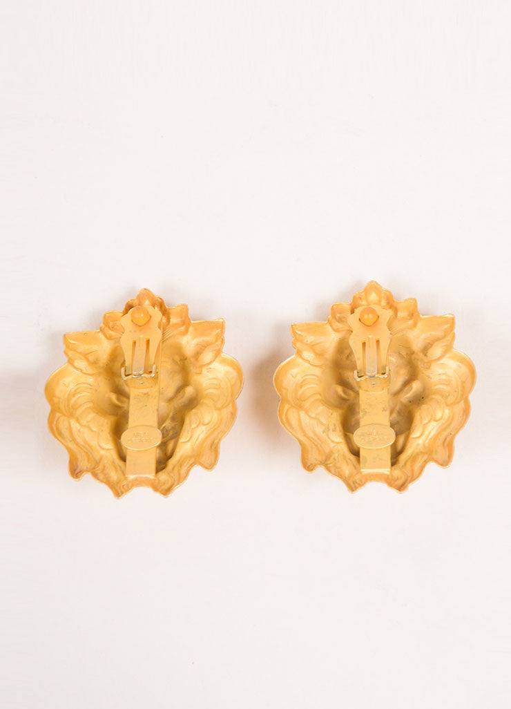 Misia Gold Toned Lion Earrings Backview