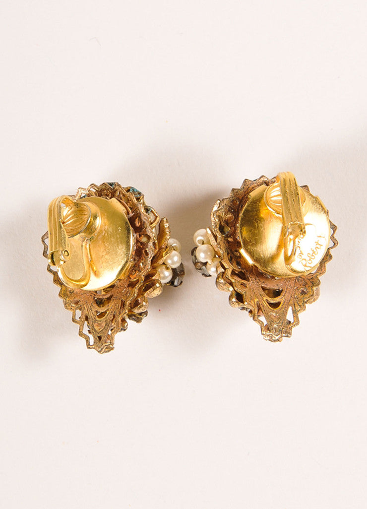 Original by Robert Gold Toned and Cream Faux Pearl and Rhinestone Clip On Earrings Backview