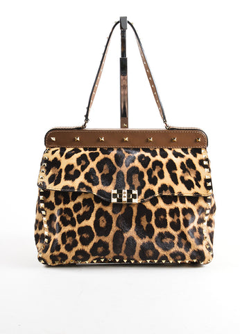 "Valentino Brown Pony Hair Leather Leopard Print ""Rockstud"" Frame Bag Frontview"