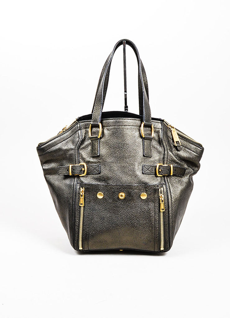 "Brown Metallic Leather Yves Saint Laurent ""Small Downtown"" Carryall Tote Handbag Frontview"