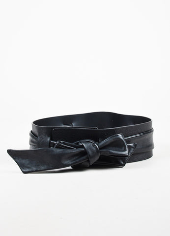 Maison Martin Margiela Black Leather Wide Tie Belt