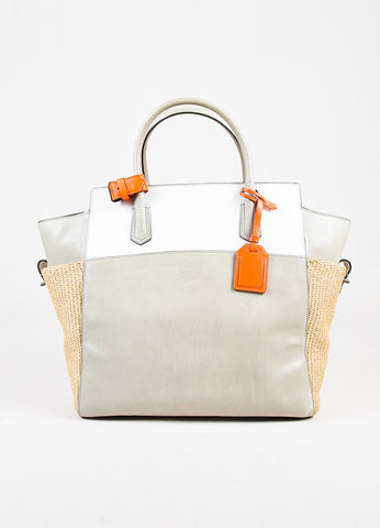 "Reed Krakoff ""Atlantique""  Light Grey, White, and Neon Orange Leather Staw Tote Bag Frontview"