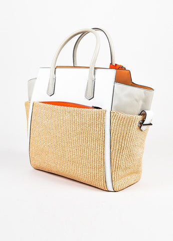 "Reed Krakoff ""Atlantique""  Light Grey, White, and Neon Orange Leather Staw Tote Bag Sideview"