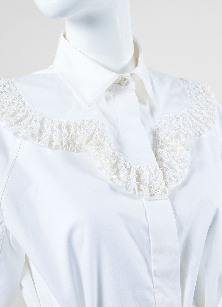 Alaia White Poplin Eyelet Embroidered Crop Sleeve Belted Top Detail
