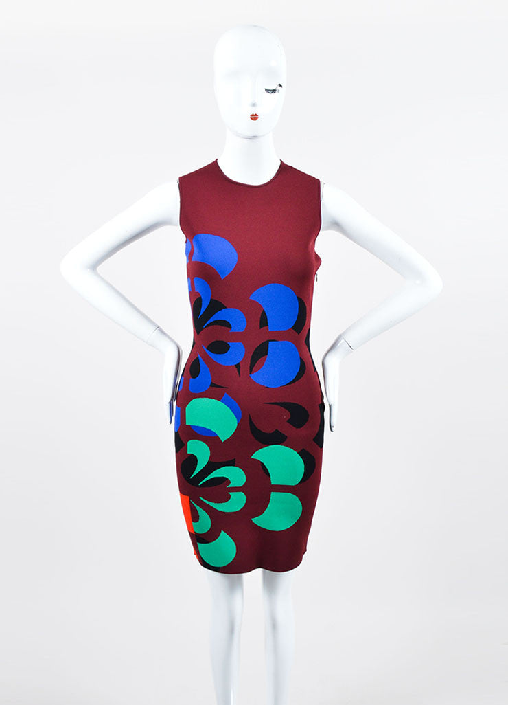 Maroon and Multicolor Alexander McQueen Stretch Knit Bodycon Dress Frontview