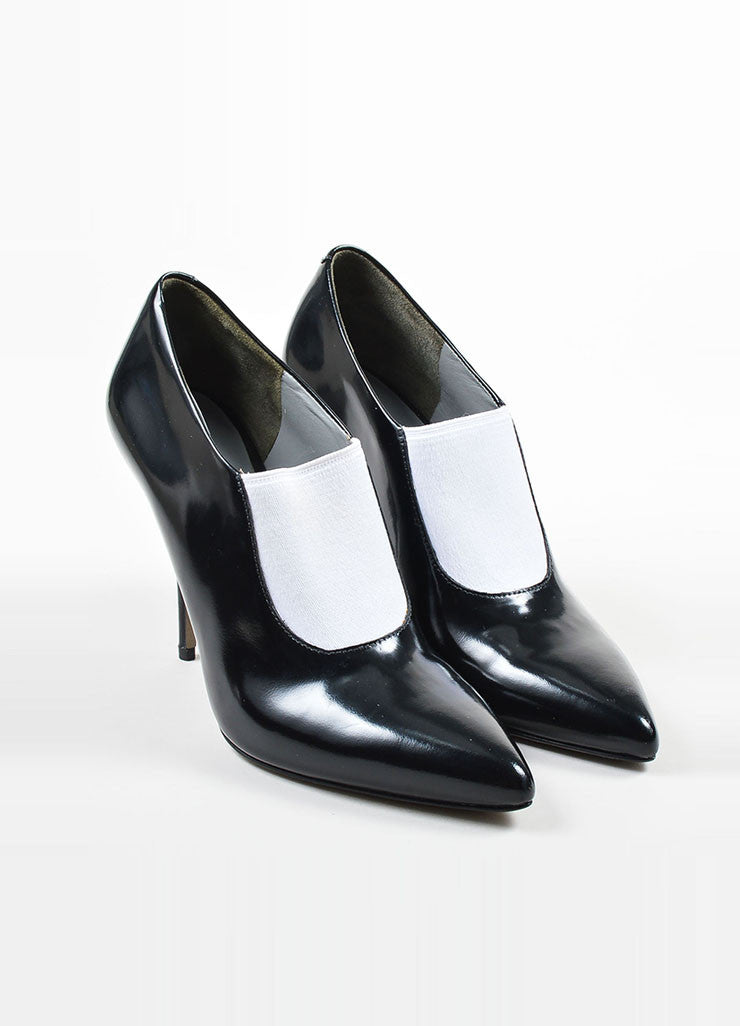 Black and White Alexander Wang Leather Glossy Pointed Toe Booties Frontview