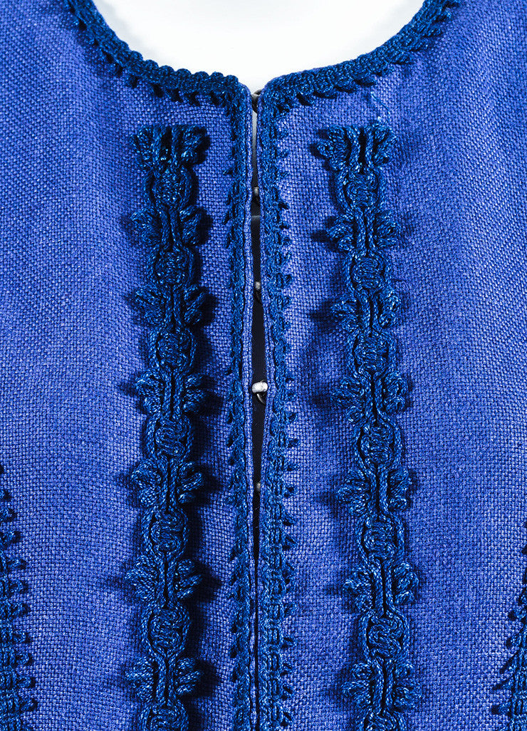 Andrew Gn Two Tone Blue Linen Embroidered Midi Coat Detail