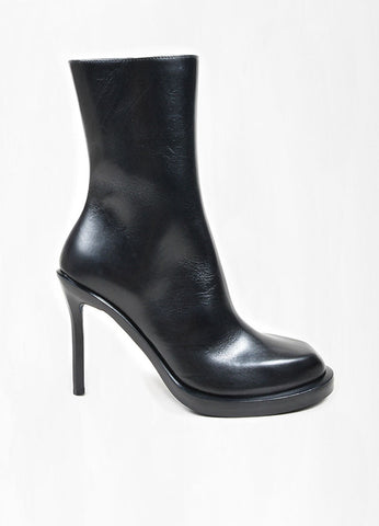 "Black Leather Ann Demeulemeester ""Riffs"" Square Toe Boots Sideview"