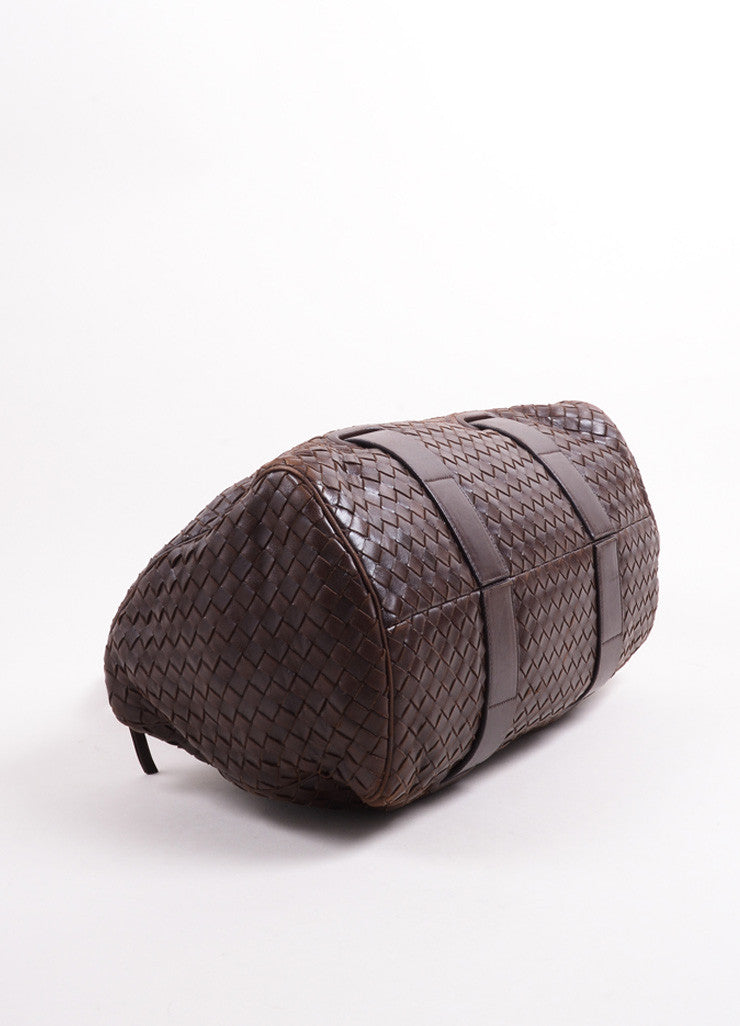 Bottega Veneta Dark Brown Intrecciato Leather Woven Satchel Bag Bottom View