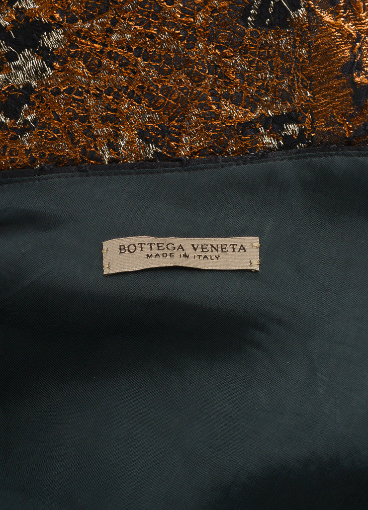 Bottega Veneta New With Tags Blue, Metallic Silver, and Bronze Silk and Lace Dress Brand