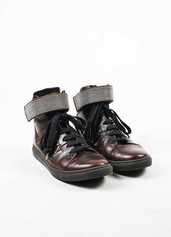 Brunello Cucinelli Brown, Gunmetal Grey, and Black Leather High Top Sneakers Frontview