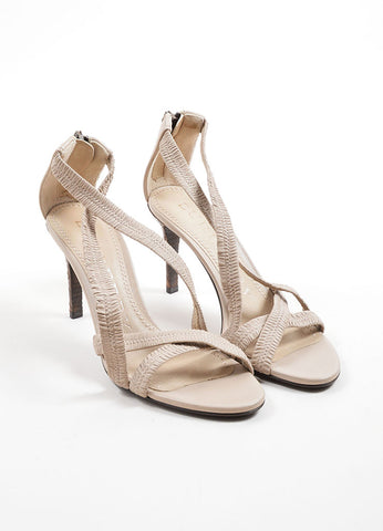 Burberry Beige Leather Plisse Strappy Heeled Sandals Frontview