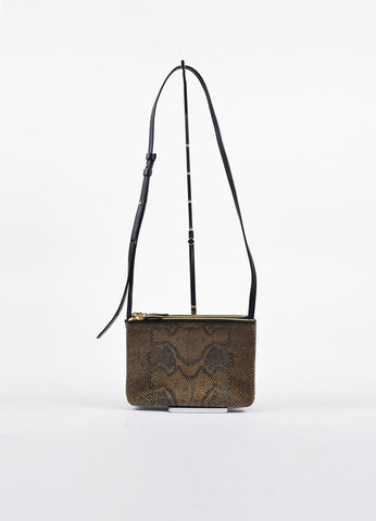 "Celine Brown Python 3 Compartment Detachable ""Trio"" Crossbody Clutch Bag Frontview"