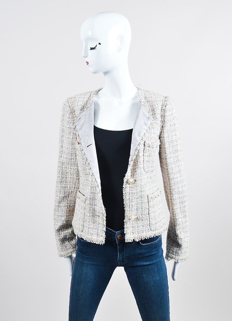 Cream, Pink, and Multicolor Chanel Tweed Fringe Blazer Jacket Frontview