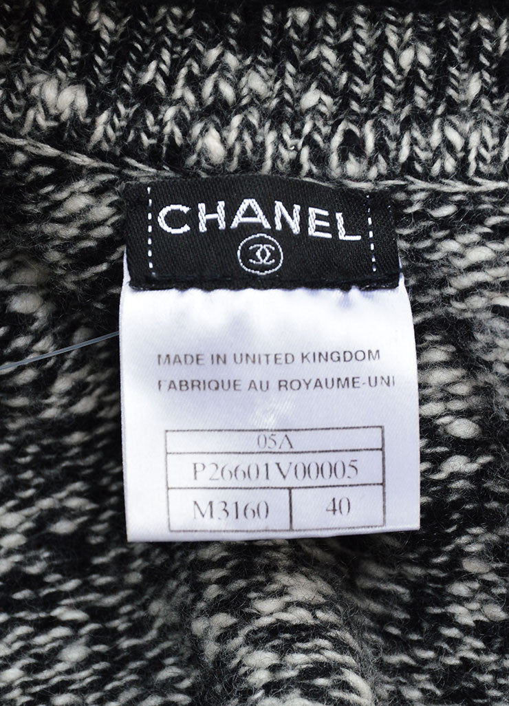 Chanel Black and White Cashmere Knit Rosette Pin Zip Cardigan Brand