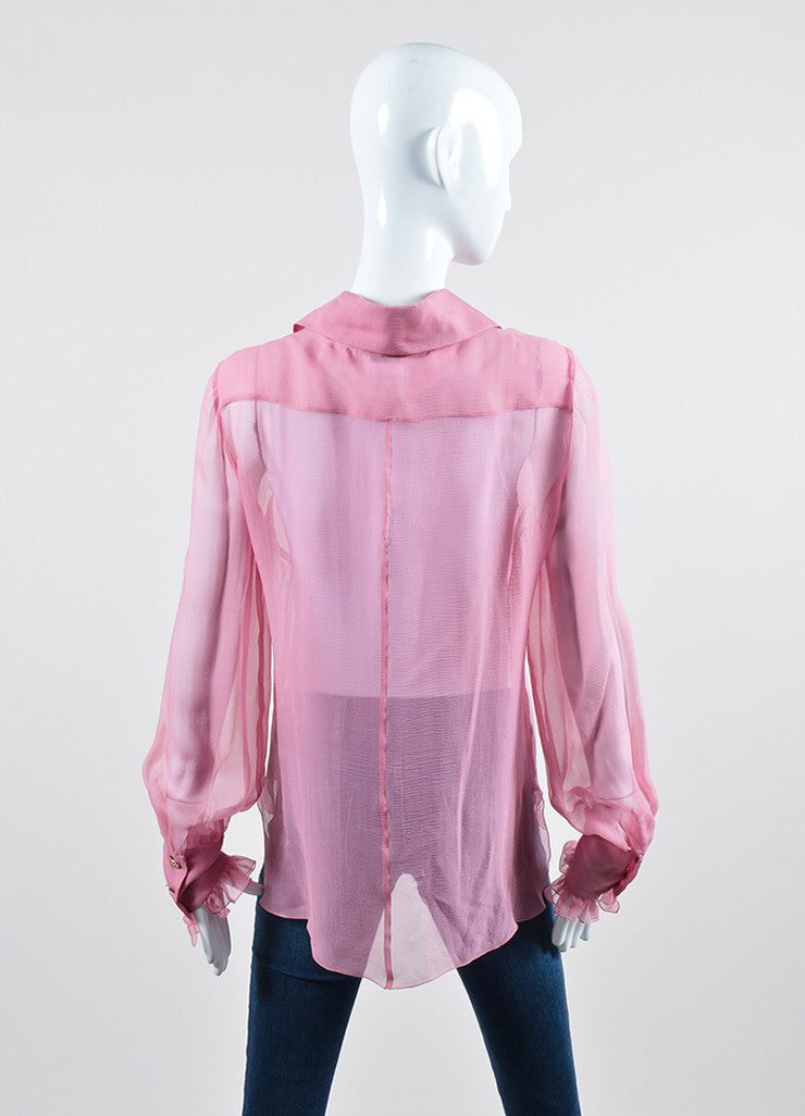 Pink Chanel Sheer Silk Ruffle Long Sleeve Button Up Blouse Backview