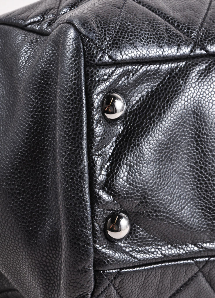 "Chanel Black and Silver Toned Quilted Caviar Leather ""CC"" Logo Shopper Tote Bag Detail"