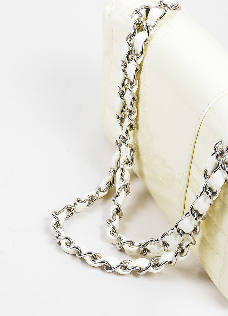 Cream and Silver Toned Quilted Patent Leather 'CC' Flap Chain Strap Bag Detail 3