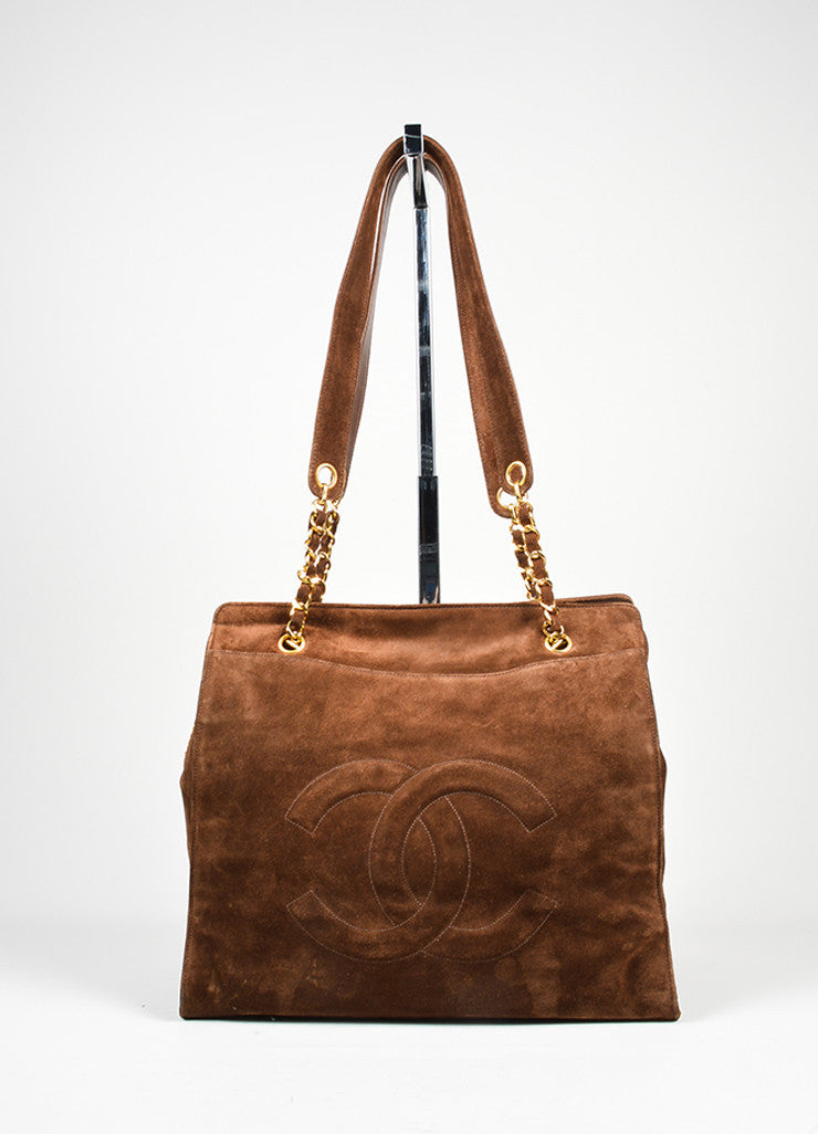 Brown and Gold Toned Chanel 'CC' Suede Leather Dual Strap Shoulder Bag Frontview