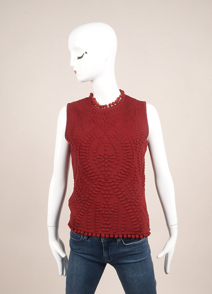 Christian Dior Red Wool Embossed Pom Pom Sleeveless Knit Top Frontview