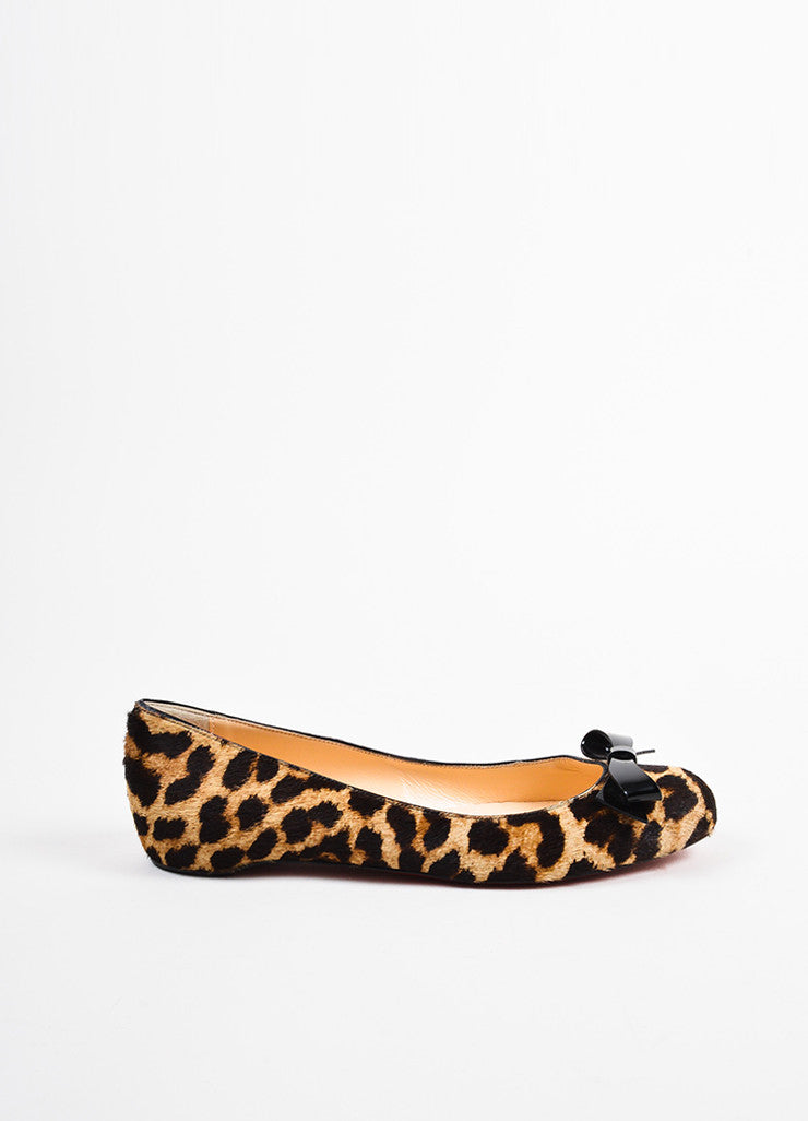"Christian Louboutin Brown and Tan Leopard Pony Hair ""Simplenodo"" Bow Flats Sideview"