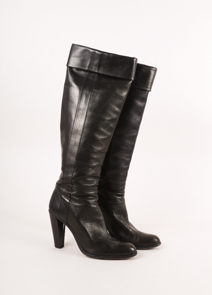 Costume National Black Leather Knee-Hight Foldover High Heel Boots Sideview