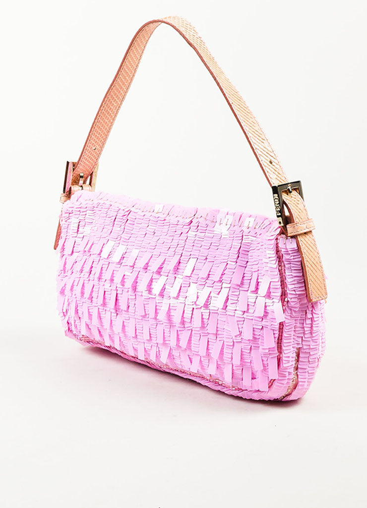 "Fendi Pink Blush Sequin Python Silver Toned 'FF' Flap ""Baguette"" Shoulder Bag Sideview"