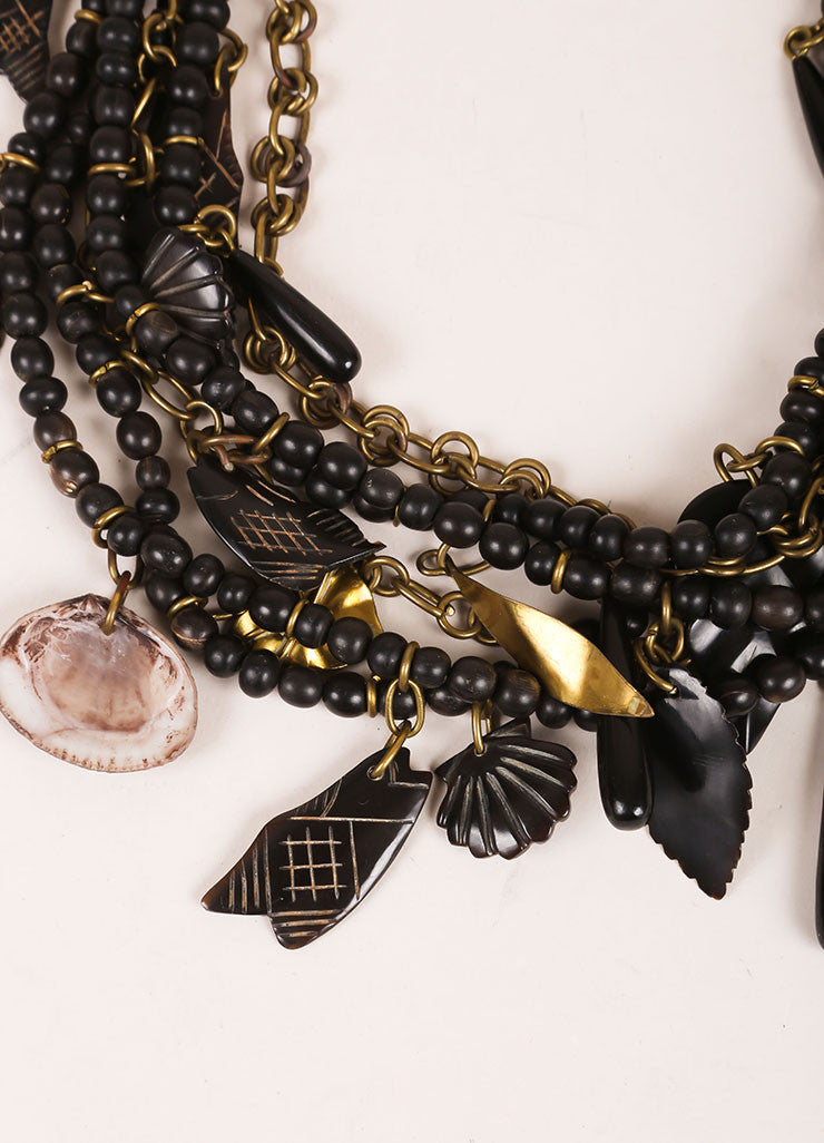 Gerda Lynggaard Monies Black, Brown, and Gold Toned Metal and Wood Beaded Layered Necklace Detail
