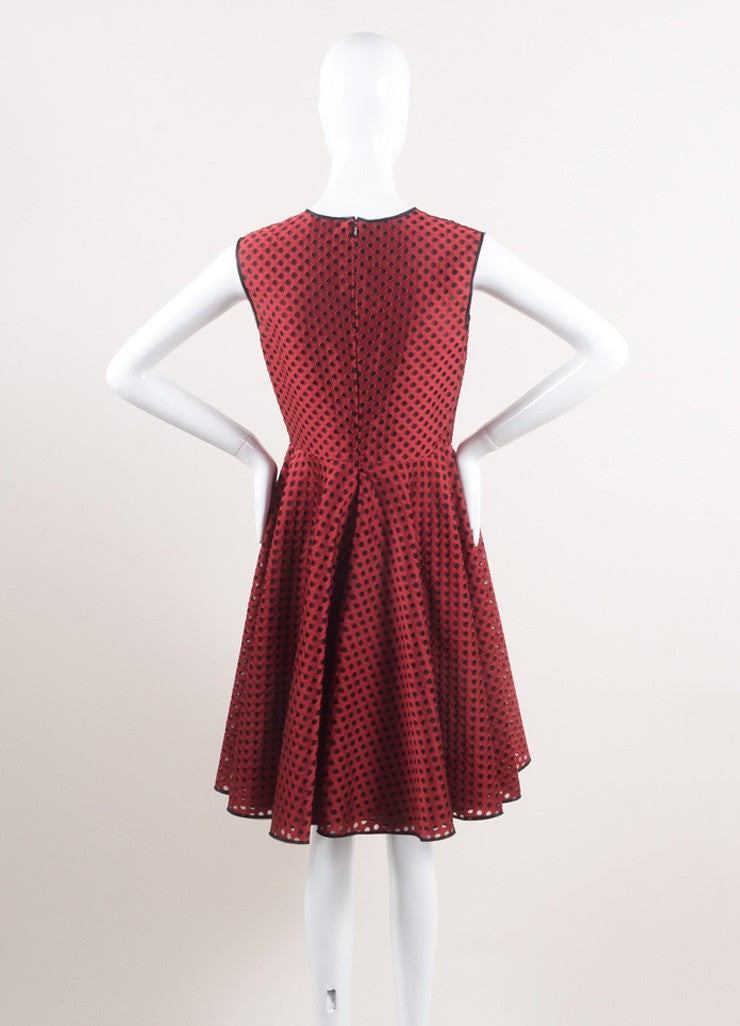 Giambattista Valli New With Tags Red and Black Eyelet Mesh Pleated Skater Dress Backview