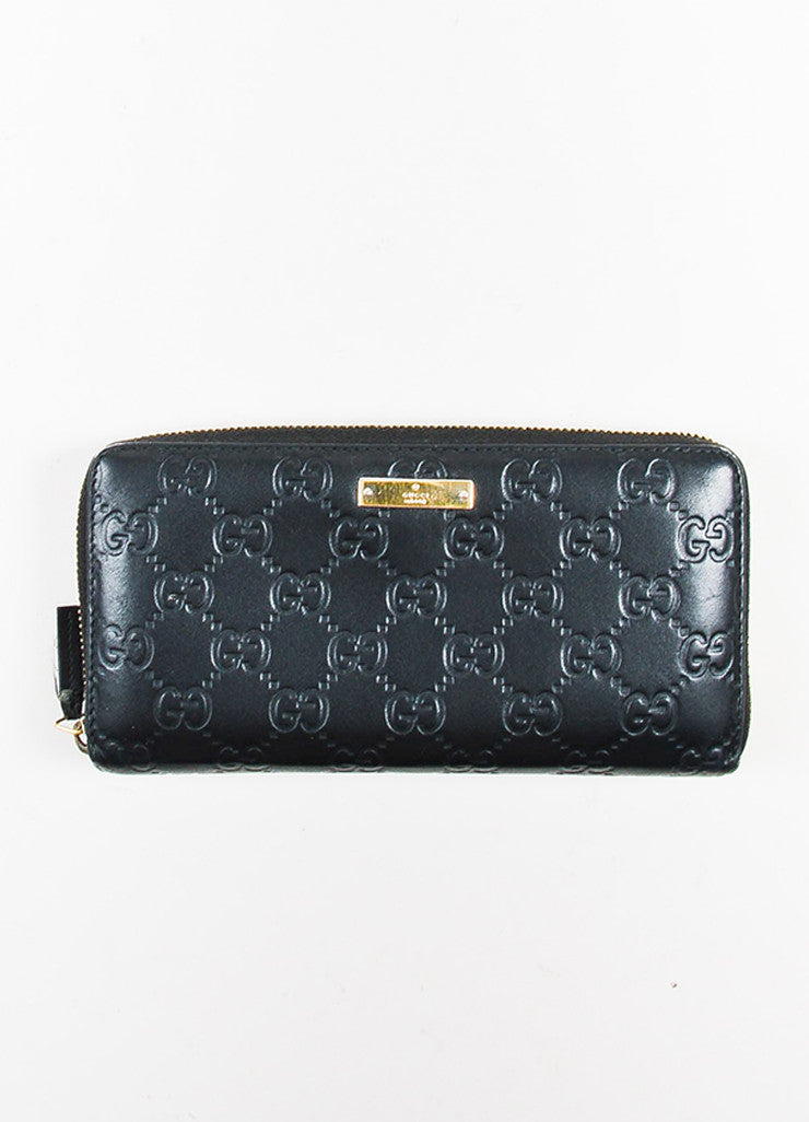 "Gucci Black Leather ""Guccissima"" Monogram ""GG"" Long Zip Wallet Frontview"