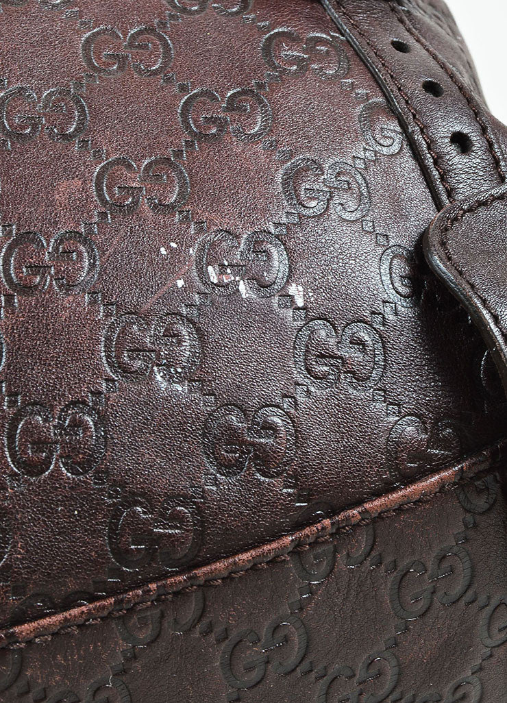 "Gucci Brown 'GG' Embossed Guccissima Leather Braided Handle ""Pelham"" Tote Bag Detail 3"