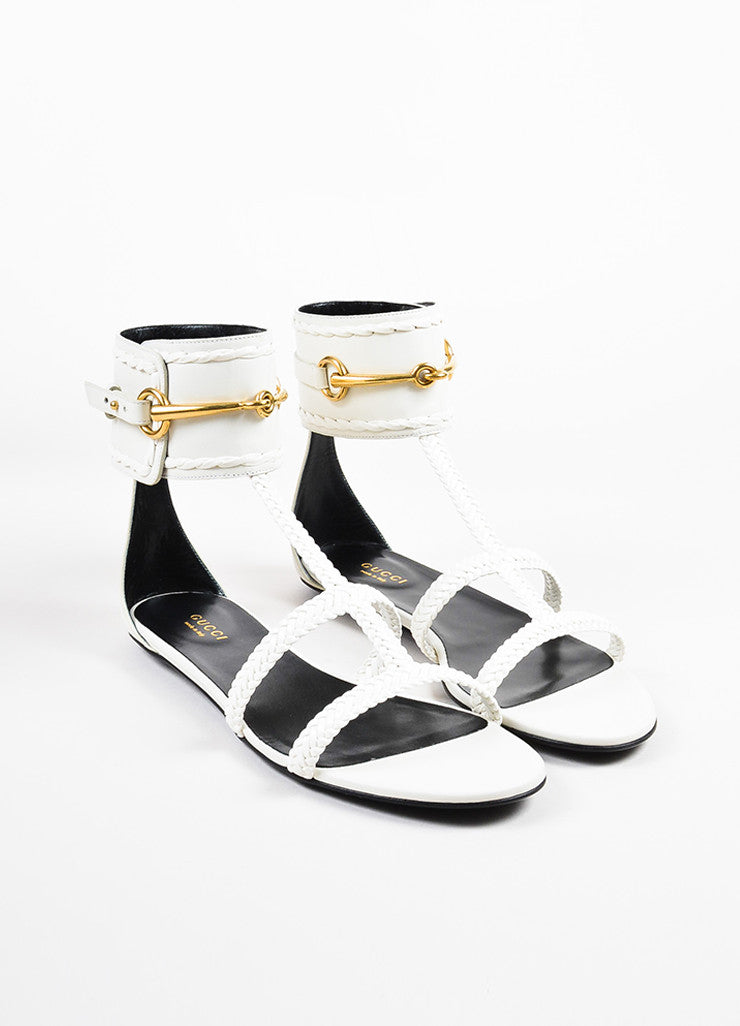 "White Gucci Leather Braided Horsebit ""Ursula"" Gladiator Sandals Front"